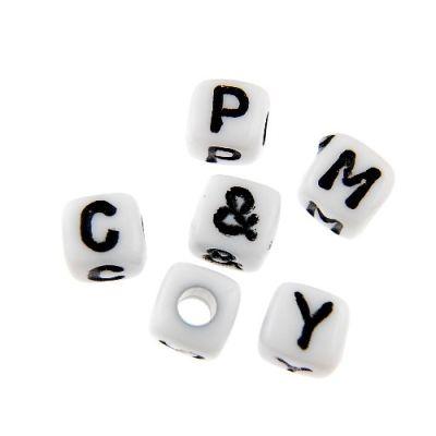 50 Letter Beads Alphabet Acrylic Assorted Lot BULK Wholesale White Gold Cube