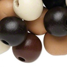 Assorted Natural Mix Wood Beads Natural Colors, Round 20mm (Approx 180 Pieces, 400 Grams)